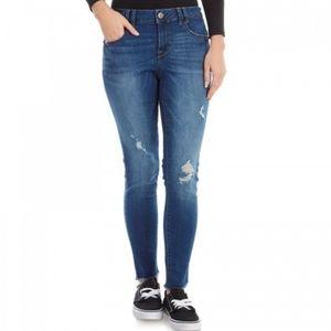 1822 Denim distressed raw hem slim bf jeans